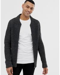 Brave Soul Waffle Knit Zip Through Cardigan