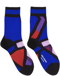 Chaussettes imprimées bleues marine Issey Miyake