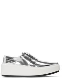 Chaussures derby en cuir argentées Kenzo