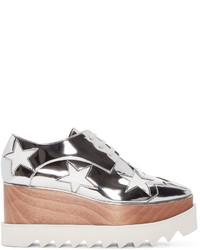 Chaussures derby en cuir argentées Stella McCartney
