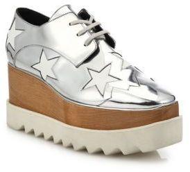Chaussures richelieu en cuir argentées Stella McCartney