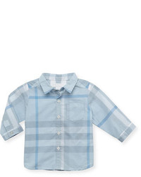 Chemise à manches longues à carreaux bleue claire Burberry