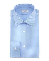 Chemise à manches longues à carreaux bleue Charvet