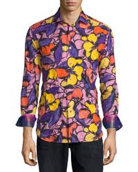 Chemise à manches longues à fleurs violette Robert Graham