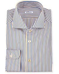 Chemise à manches longues à rayures verticales bleue Kiton