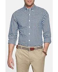 Chemise à manches longues blanche et bleue marine