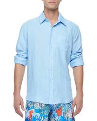 Chemise à manches longues bleue claire Vilebrequin