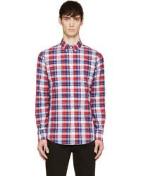 Chemise à manches longues écossaise blanche et rouge et bleue marine DSQUARED2