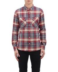 Chemise à manches longues écossaise blanche et rouge et bleue marine Jack Spade