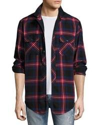 Chemise à manches longues écossaise blanche et rouge et bleue marine PRPS