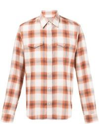 Chemise à manches longues écossaise orange Maison Margiela