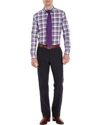 Chemise à manches longues écossaise violette Barneys New York