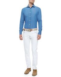 Chemise à manches longues en chambray bleue Kiton
