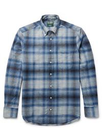 Chemise à manches longues en flanelle à carreaux bleue Gitman Brothers