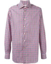 Chemise à manches longues en vichy blanche et rouge et bleue marine Kiton