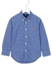 Chemise à manches longues en vichy bleue Ralph Lauren