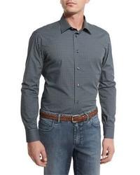 Chemise à manches longues géométrique bleue Brioni