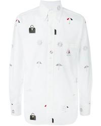 Chemise à manches longues imprimée blanche Thom Browne