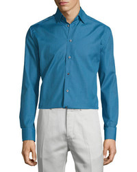 Chemise à manches longues imprimée bleue Eton