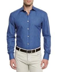 Chemise à manches longues imprimée bleue Kiton