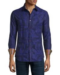 Chemise à manches longues imprimée violette Robert Graham