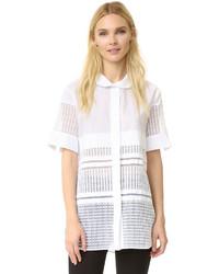 Chemise boutonnée à manches courtes blanche By Malene Birger