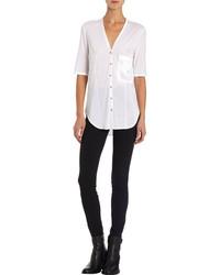 Chemise boutonnée à manches courtes blanche Helmut Lang