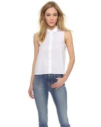 Chemise boutonnée sans manches blanche J Brand