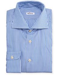 Chemise de ville à rayures verticales bleue Kiton