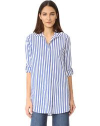 Chemise de ville à rayures verticales bleue MiH Jeans