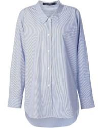 Chemise de ville à rayures verticales bleue Sofie D'hoore