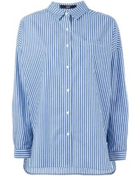 Chemise de ville à rayures verticales bleue Steffen Schraut