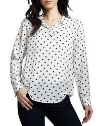 Chemise blanche a pois noir femme chemise femme bleu et blanche ... f6f3f8c7264