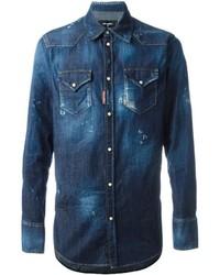 Chemise en jean bleue marine DSQUARED2
