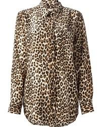 Chemise en soie imprimée léopard brune Equipment