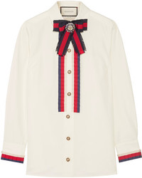 Chemise ornée blanche Gucci