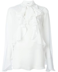Chemisier à manches longues à volants blanc Givenchy