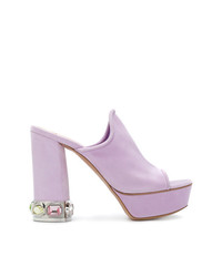 Chinelas de ante violeta claro de Casadei