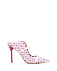 Chinelas de cuero estampadas rosadas de Malone Souliers