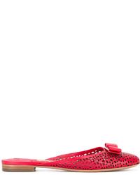 Chinelas de cuero rojas de Salvatore Ferragamo