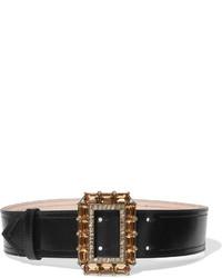 Cinturón de cuero con adornos negro de Alexander McQueen