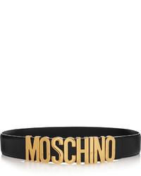 Cinturón de cuero con adornos negro de Moschino