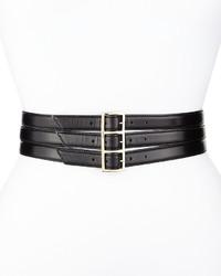 Cinturón de cuero negro de Oscar de la Renta