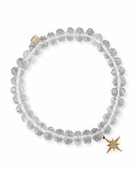 Sydney Evan 8mm Faceted Clear Quartz Bead Bracelet With Starburst Charm