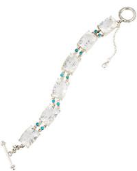 Stephen Dweck Clear Quartz Turquoise Station Bracelet