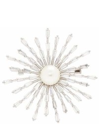 Cz By Kenneth Jay Lane Shell Pearl Cubic Zirconia Starburst Brooch