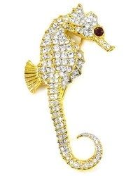 Kenneth Jay Lane Large Crystal Gold Plated Seahorse Brooch Pin