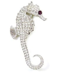 Kenneth Jay Lane Large Crystal Silver Seahorse Brooch Pin