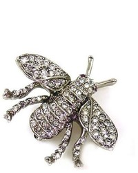 Kenneth Jay Lane Small Antique Silver And Crystal Bee Brooch