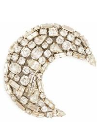 Saint Laurent Moon Crystal Embellished Brooch